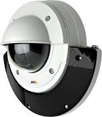 Der AXIS T90C-Strahler und die für den Außenbereich geeignete AXIS P33-Netzwerk-Kamera sind zusammen eine Einheit